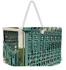 Weekender Tote Bag featuring the photograph Charleston Aqua Turquoise Rod Iron Gate John Rutledge House - Charleston Historical Architecture by Kathy Fornal