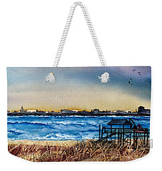 Weekender Tote Bag featuring the painting Charleston At Sunset by Lil Taylor