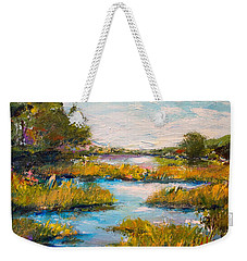 Weekender Tote Bag featuring the painting Charleston City Limits by Alan Lakin