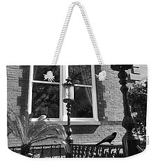 Weekender Tote Bag featuring the photograph Charleston French Quarter Architecture - Window Street Lanterns Gothic French Black White Art Deco  by Kathy Fornal