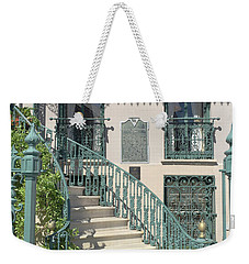 Weekender Tote Bag featuring the photograph Charleston Historical John Rutledge House - Aqua Teal Gate Staircase Architecture - Charleston Homes by Kathy Fornal