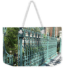 Weekender Tote Bag featuring the photograph Charleston Historical John Rutledge House Fleur Des Lis Aqua Teal Gate Fence Architecture  by Kathy Fornal