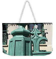 Weekender Tote Bag featuring the photograph Charleston John Rutledge House Fleur De Lis Symbols - French Quarter Architecture Gate Posts by Kathy Fornal