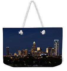 Weekender Tote Bag featuring the photograph Charlotte Skyline During Blue Hour by Serge Skiba