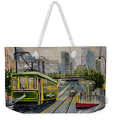 Charlotte Urban Cityscape And Streetcar  Weekender Tote Bag