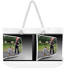 Weekender Tote Bag featuring the photograph Chasing Bubbles - Gently Cross Your Eyes And Focus On The Middle Image by Brian Wallace