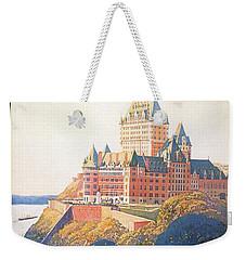 Chateau Frontenac Luxury Hotel In Quebec, Canada - Vintage Travel Advertising Poster Weekender Tote Bag