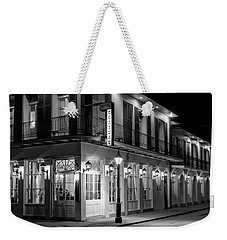 Chateau Hotel At Night In Black And White Weekender Tote Bag