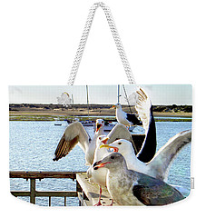 Chatty Seagull Birds Weekender Tote Bag by Haleh Mahbod