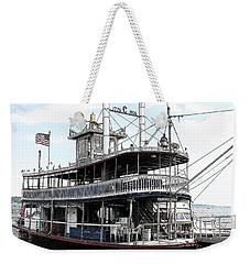 Weekender Tote Bag featuring the photograph Chautauqua Belle Steamboat With Ink Sketch Effect by Rose Santuci-Sofranko