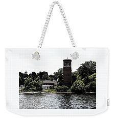 Weekender Tote Bag featuring the photograph Chautauqua Institute Miller Bell Tower 2 With Ink Sketch Effect by Rose Santuci-Sofranko