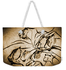 Chauvet Cave Lions Burned Leather Weekender Tote Bag