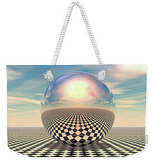 Weekender Tote Bag featuring the digital art Checker Ball by Phil Perkins