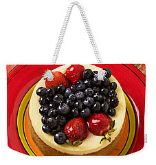 Cheesecake On Red Plate Weekender Tote Bag