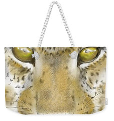 Weekender Tote Bag featuring the digital art Cheetah Face by Darren Cannell