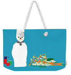 Weekender Tote Bag featuring the digital art Chef Snowman by Barbara Moignard