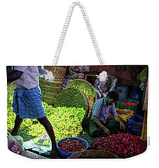 Weekender Tote Bag featuring the photograph Chennai Flower Market Busy Morning by Mike Reid