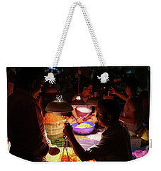 Weekender Tote Bag featuring the photograph Chennai Flower Market Transaction by Mike Reid