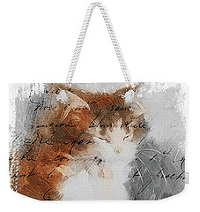 Weekender Tote Bag featuring the painting Cher Chat ... by Chris Armytage