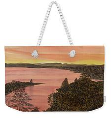 Weekender Tote Bag featuring the painting Cherokee Lake - Golden Glow by Joel Deutsch