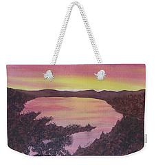 Weekender Tote Bag featuring the painting Cherokee Lake Sunset Number Seven by Joel Deutsch
