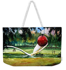 Weekender Tote Bag featuring the painting Cherry And Spoon by Marilyn Jacobson