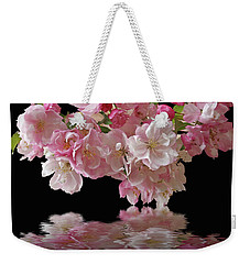 Cherry Blossom Reflections On Black Weekender Tote Bag by Gill Billington
