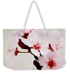 Weekender Tote Bag featuring the mixed media Cherry Blossoms 1- Art By Linda Woods by Linda Woods