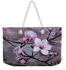 Weekender Tote Bag featuring the painting Cherry Blossoms by Maria Langgle
