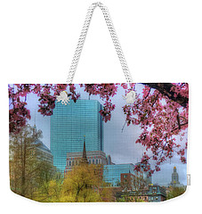 Weekender Tote Bag featuring the photograph Cherry Blossoms Over Boston by Joann Vitali
