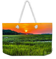 Cherry Grove Marsh Sunrise Weekender Tote Bag by David Smith