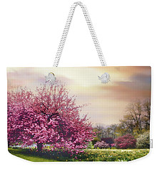 Weekender Tote Bag featuring the photograph Cherry Orchard Hill by Jessica Jenney