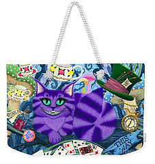 Weekender Tote Bag featuring the painting Cheshire Cat - Alice In Wonderland by Carrie Hawks
