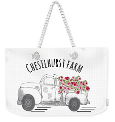 Weekender Tote Bag featuring the drawing Chesilhurst Farm by Kim Kent