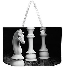 Chess Pieces On Old Wood Weekender Tote Bag