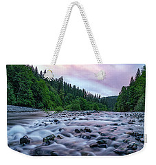 Weekender Tote Bag featuring the photograph Chetco River Sunset 2 by Leland D Howard