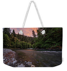 Weekender Tote Bag featuring the photograph Chetco River Sunset by Leland D Howard