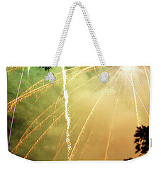 Weekender Tote Bag featuring the photograph Chetola Yellow Fireworks by Meta Gatschenberger