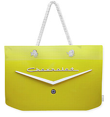 Weekender Tote Bag featuring the photograph Chevrolet Bel Air In Yellow by Toni Hopper