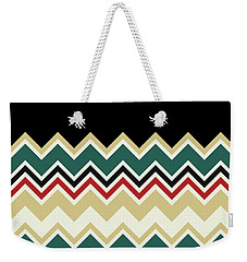 Chevron Beige Forest Green Red Black Zigzag Pattern Weekender Tote Bag