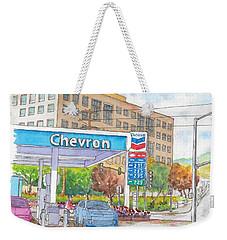Chevron Gasoline Station In Olive And Buena Vista, Burbank, California Weekender Tote Bag