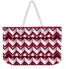 Chevron Hearts Metallic Ruby Red Pink Zigzag Weekender Tote Bag