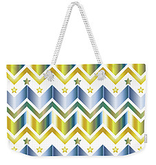 Chevron Metallic Gold Blue Green Gradation Stars Pattern Weekender Tote Bag
