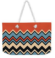 Chevron Orange Blue Beige Black Zigzag Pattern Weekender Tote Bag