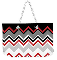 Chevron Red Grey Black White Zigzag Pattern Weekender Tote Bag