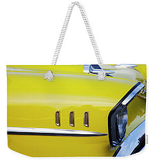Weekender Tote Bag featuring the photograph Chevy Bel Air Abstract In Yellow by Toni Hopper