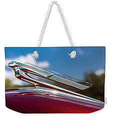 Weekender Tote Bag featuring the photograph Chevy Flying Lady by Melinda Ledsome