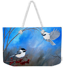 Weekender Tote Bag featuring the painting Chickadees  by Tracey Goodwin