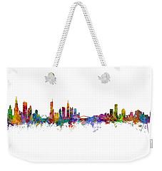 Chicago And Milwaukee Skyline Mashup Weekender Tote Bag