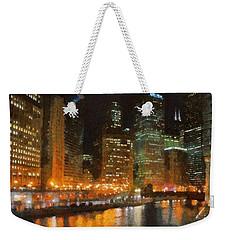 Chicago At Night Weekender Tote Bag